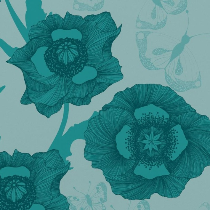 Poppy Flower Turquoise - Artisanal Wallpaper from The Wallpaper Collective