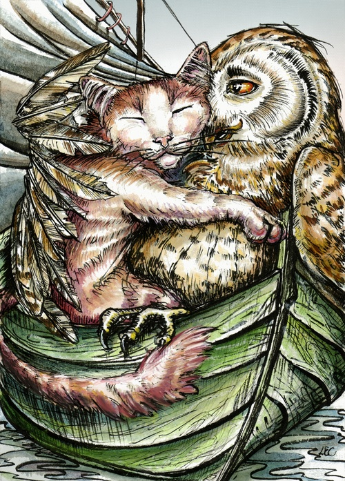 The Owl And The Pussycat by Edward Lear, artist unknown at this time.