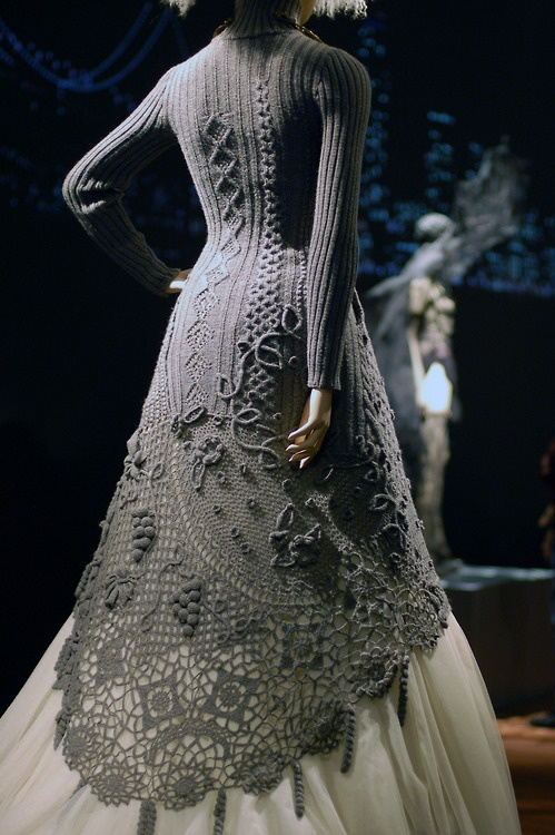 Knit dress, just in time for the chilly months.  Jean Paul Gaultier.