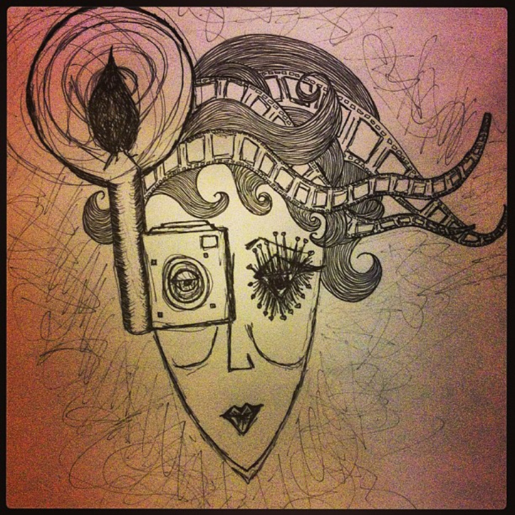 Camera Girl. Ink on paper One only, original. Size: A3 Price:  $75