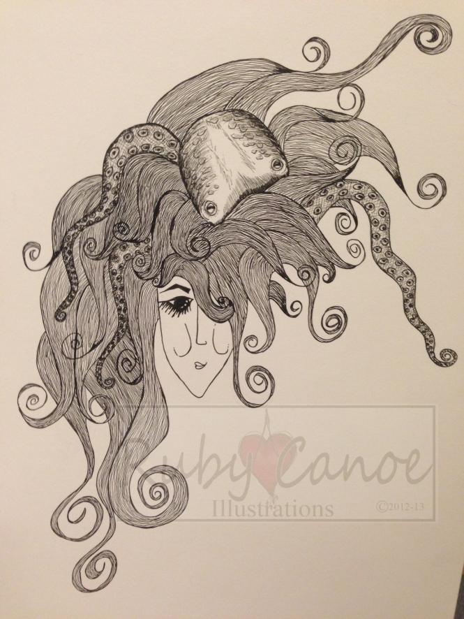 """Waiter, there's an octopus in my hair!"" Ink One only, original Size:  A3 Price:  $75"