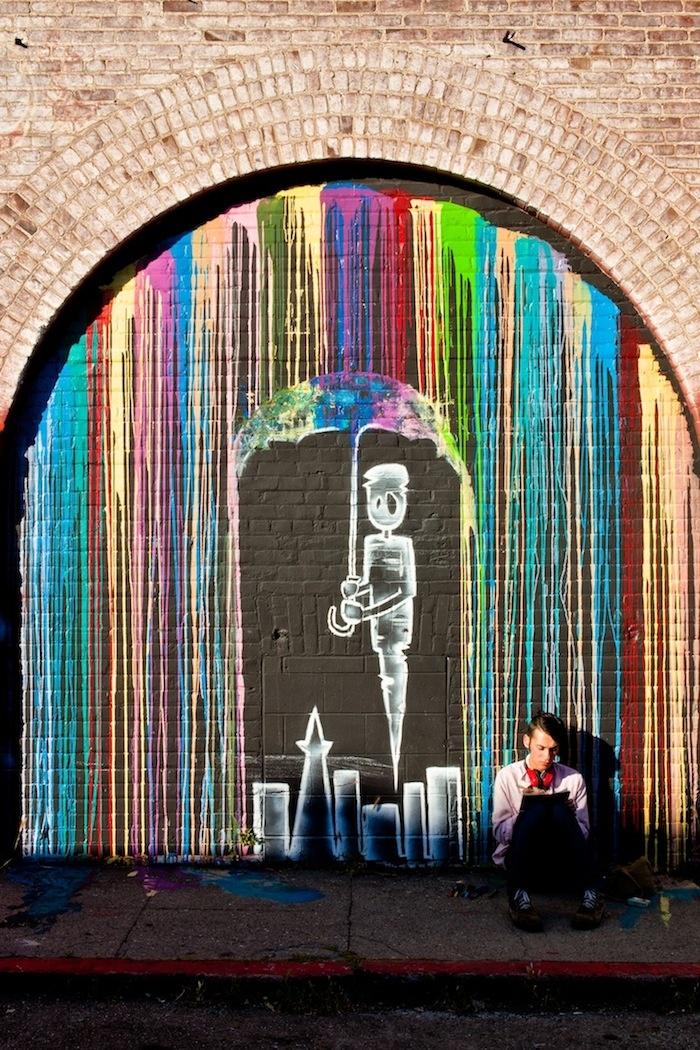 Happy rain, street art.