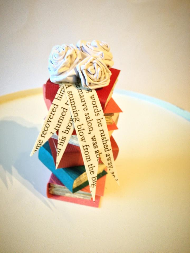 Etsy listing Ruby Canoe Design $25 Stack of Books Cake Topper Wedding/Graduation/Birthday