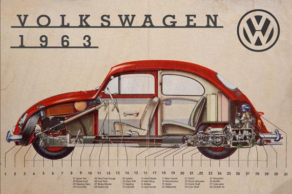 VW 1963 cutaway red